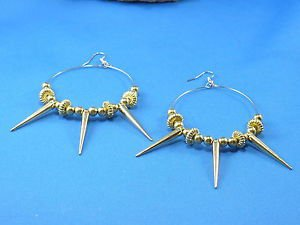 Gold Hoop Dangle Pierce Hook Earrings