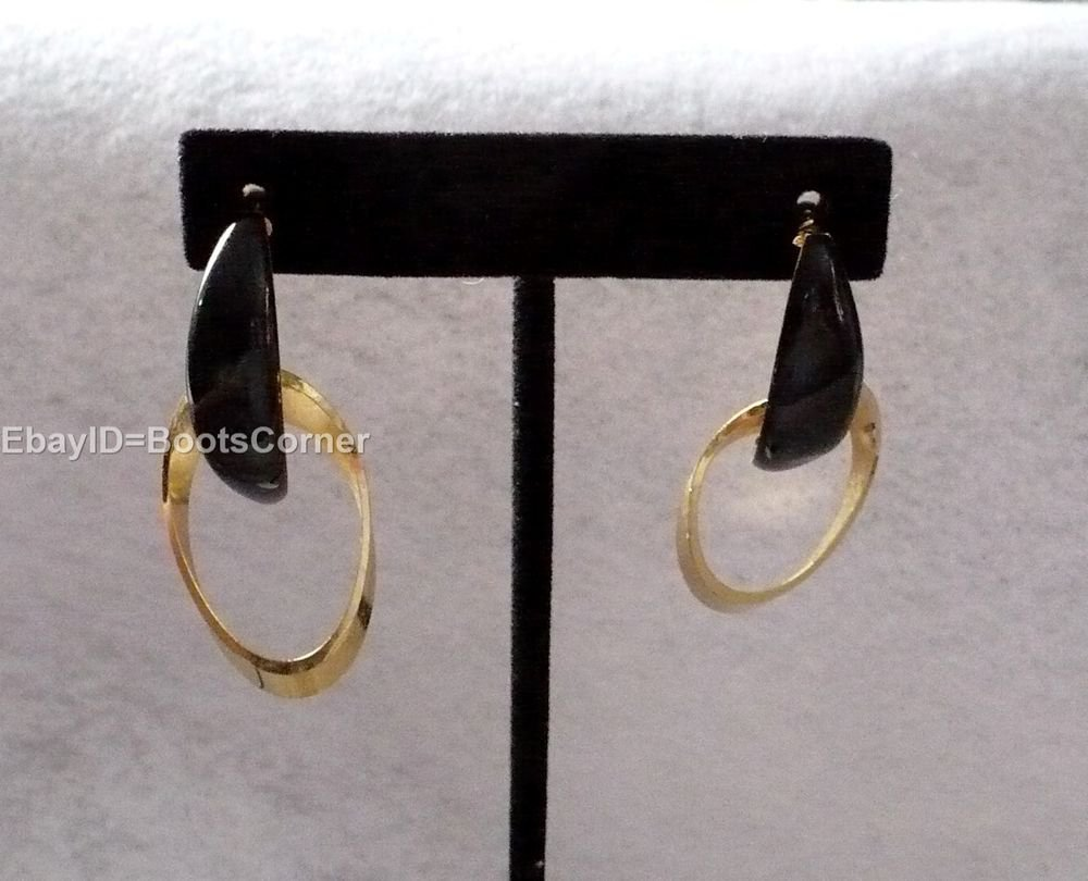 Gold Tone Black Dangle Drop Earrings Surgical Steel Post