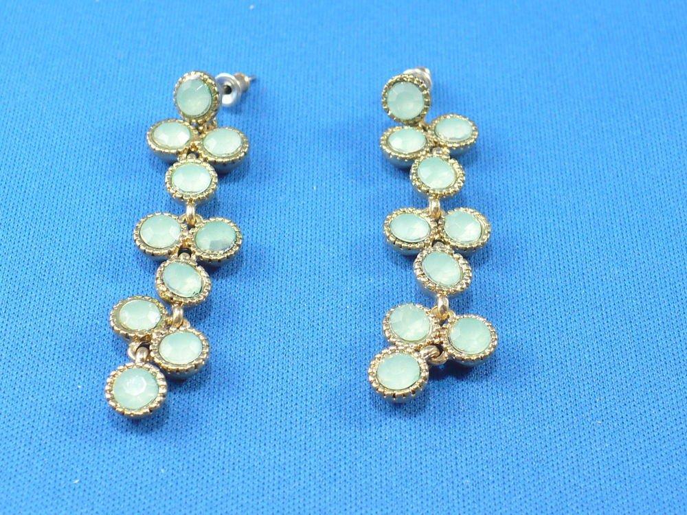 Pale Green Dangle Surgical Steel Pierce Earrings