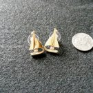 Sailboats Crystal Gold Earrings Surgical Steel Post