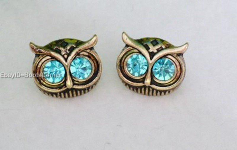 Owl Green Crystal Stud Earrings Surgical Steel Post