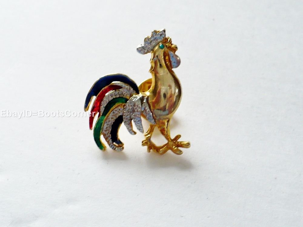 Multi-Tone Gold Rooster Animal Rhinestone Acrylic Pin Brooch