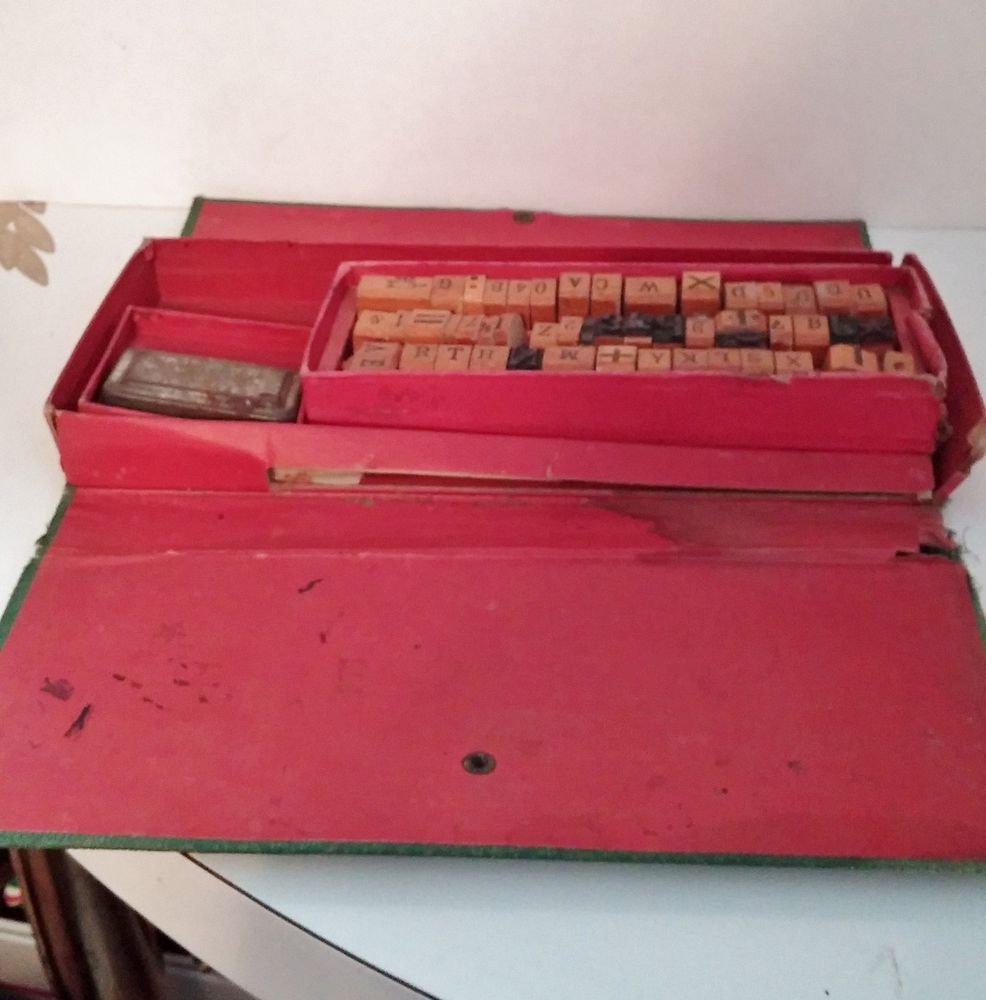 Vintage Childs Boys & Girls Aldine Letter Blocks Printing Press