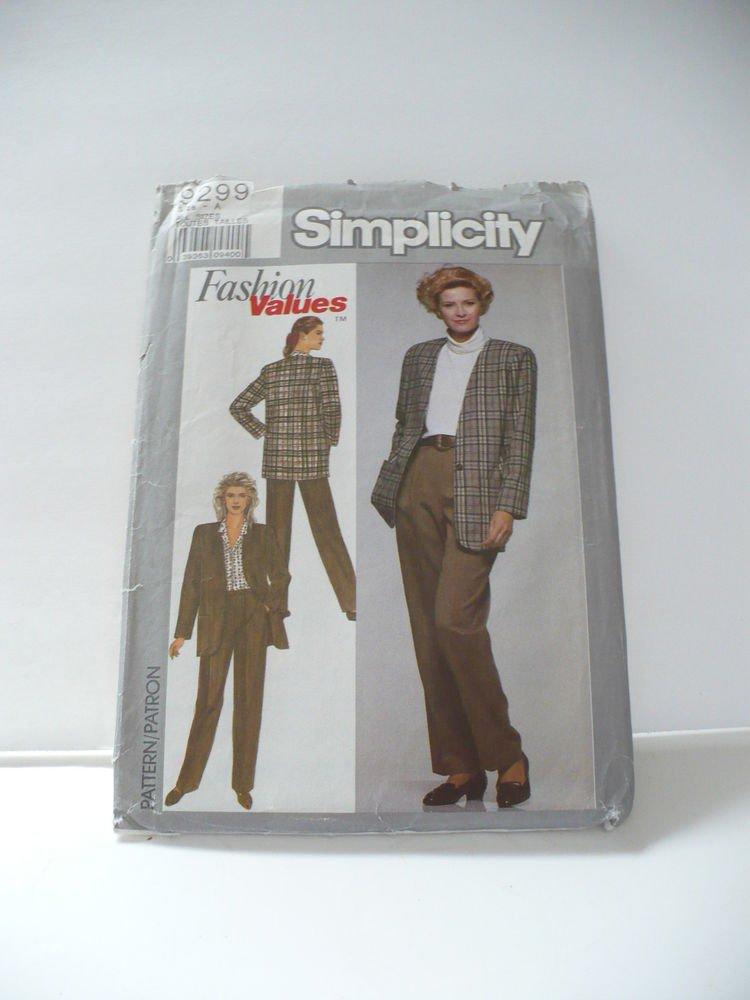 UNCUT Simplicity Sewing Pattern #9299 Size A Misses 8-18 Pant Jacket