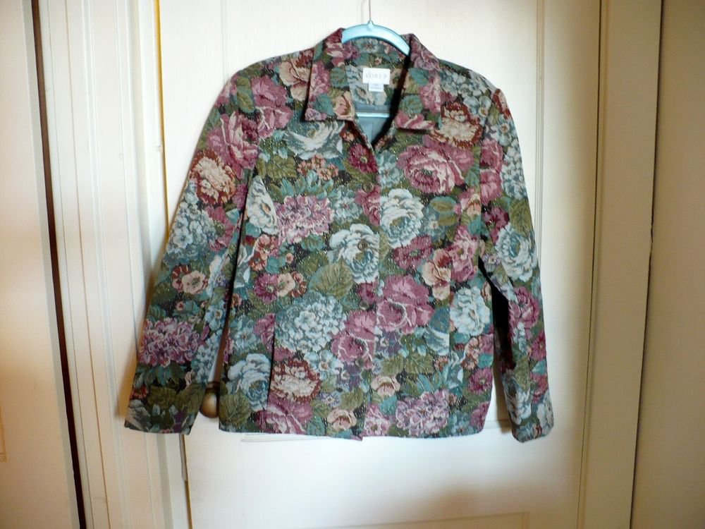 Quilted Jacket Blazer Multi-Color Pattern of Roses - Size 10