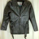 American Eagle Leather Black Basic Jacket with Belt attached Size Small