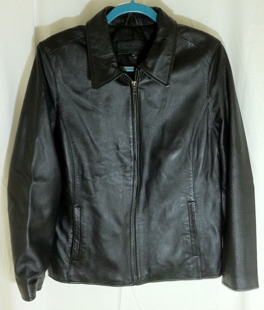Jacklyn Smith Classic Black Leather Solid Basic Jacket Coat Size LG