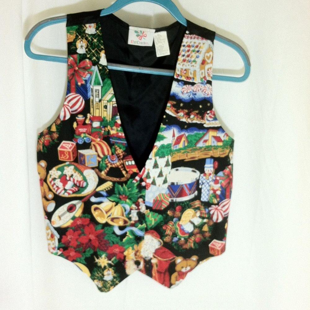 Christmas Vest Size Small 100% Cotton, Chico's Multi-Color