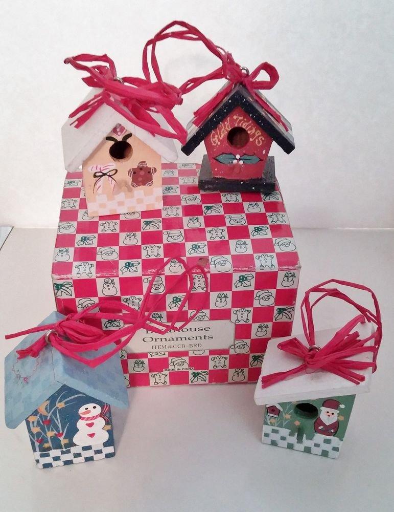 Christmas Ornaments Set of 4 Bird Houses