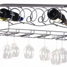 New Wine Bar Wall Rack metal wood 6 bottle 8 wine glasses holder organizer