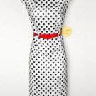 Emma & Michele Dress White Black Polka Dot Stretch Sheath Red Belt NWT