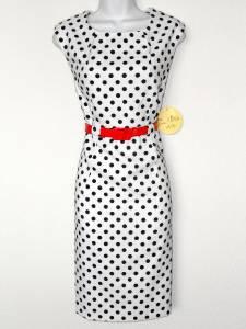 Emma & Michele Dress White Black Polka Dot Stretch Sheath Red Belt NWT