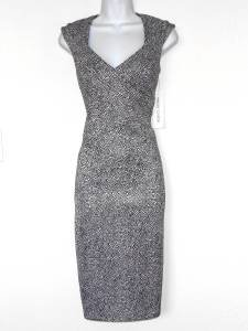 Maggy London Dress Black White Pebble Print Stretch Career Cocktail NWT