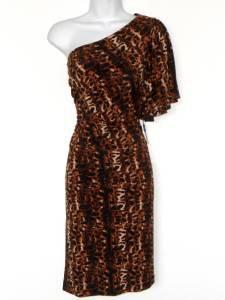 Calvin Klein Dress Size 10 Brown Black Leopard Print One Shoulder Stretch NWT