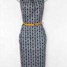 Nine West Dress Navy Blue White Geometric Floral Print Cotton Sheath Belt NWT