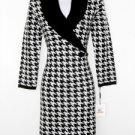 Calvin Klein Sweater Dress Black Ivory Houndstooth Knit Buckle NWT