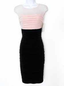 Sangria Dress Blush Pink Nude Black Illusion Pleated Stretch Cocktail New