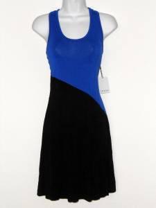 Calvin Klein Dress Royal Blue Black Colorblock T-Shirt Knit Casual NWT