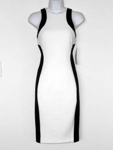 Maggy London Dress Ivory Black Colorblock Illusion Stretch Scuba NWT