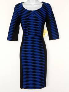 Emma & Michele Dress Royal Blue Black Colorblock Stripe Stretch NWT