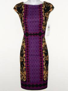 Maggy London Dress Purple Black Gold Scroll Mixed Print Stretch Sheath NWT