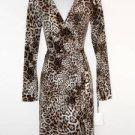 Calvin Klein Wrap Dress Brown Leopard Animal Print Stretch Versatile NWT