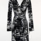 Calvin Klein Wrap Dress Black White Abstract Print Stretch Versatile NWT