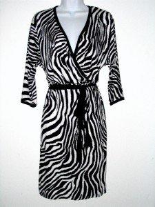 Karen Kane Dress Large L Faux Wrap Black White Zebra Animal Knit Belt NWT