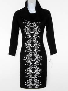 Sandra Darren Sweater Dress Size 2X Black White Scroll Print Cowl Neck Knit NWT
