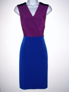 Calvin Klein CK Dress Size Sz 6 Stretch Purple Blue Black Colorblock NWT
