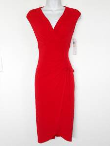 London Times Red Dress Size 4 Stretch Ruched Sleeveless Versatile NWT