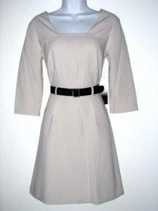Kensie Dress Size Large L Lrg Beige Taupe Retro Mod Flare Belt NWT