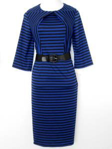 Julian Taylor Dress Size 20W Royal Blue Black Striped Knit Belt Versatile NWT