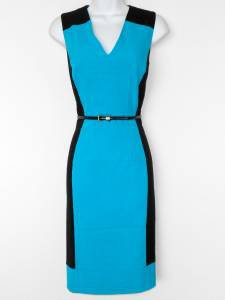 Calvin Klein Dress Size 4 Teal Black Colorblock Stretch Sheath Belt Career