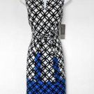 Jones NY Dress Size 6 Black White Blue Geometric Print Sheath Tie Belt NWT