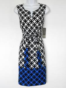 Jones NY Dress Size 6 Black White Blue Geometric Print Sheath Tie Belt NWT