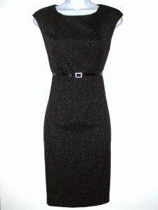 Connected Apparel Dress Size Sz 8P Sheath Black Silver Shimmer Belt Career New