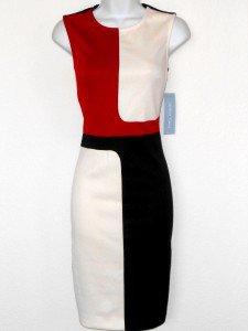 London Times Dress Size 10 Black White Red Geometric Colorblock Knit Sheath NWT