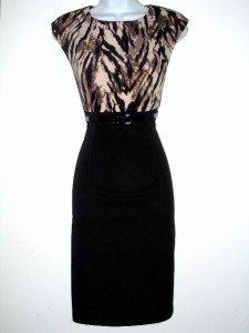 Connected Apparel Dress Size Sz 6P Sheath Brown Black Animal Print Belt Knit New