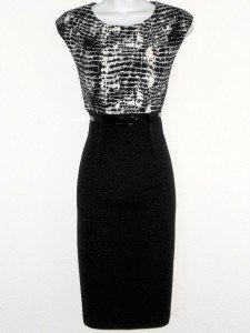 Connected Apparel Dress Size 14 Black White Croco Print Stretch Sheath New