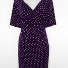 Connected Apparel Dress Size 20W Purple Beige Polka Dot Print Ruched Stretch New
