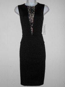 Maggy London Dress Size 4 Black Nude Lace Illusion Peplum Ponte Stretch NWT