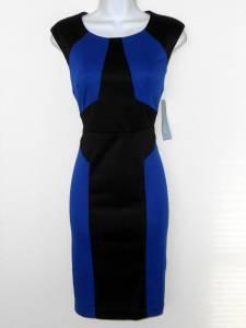 London Times Dress Size 10 Royal Blue Black Colorblock Knit Sheath NWT