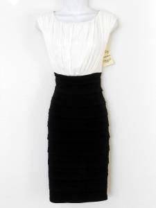 Sangria Dress Size 16 Black Ivory Shutter Pleat Stretch Cocktail NWT