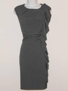 Calvin Klein Dress Size 8 Gray Ruffle Stretch Sheath Career Cocktail NWT
