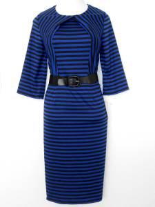Julian Taylor Dress Size 16W Royal Blue Black Striped Knit Belt Versatile NWT