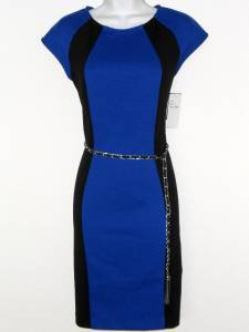 Sandra Darren Dress Size 6 Cobalt Blue Black Colorblock Scuba Knit Belt NWT
