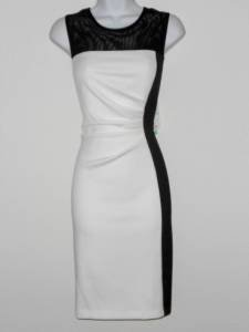 Sandra Darren Dress Size 12 Ivory Black Colorblock Mesh Illusion Scuba NWT