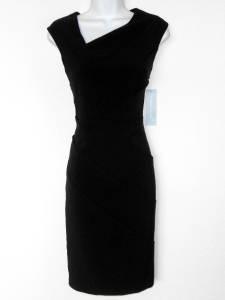London Times Black Dress Size 12 Stretch Sheath Starburst Career Cocktail NWT