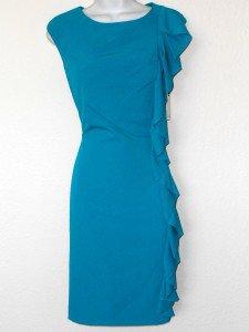 Calvin Klein CK Dress Size 4 Teal Lagoon Blue Ruffle Sheath Career Cocktail NWT